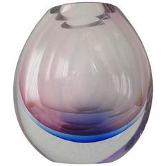 Italian Murano Glass Faceted Vase by Mandruzzato