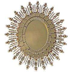 Sunburst Silver Giltwood Spanish Colonial Wall Mirror