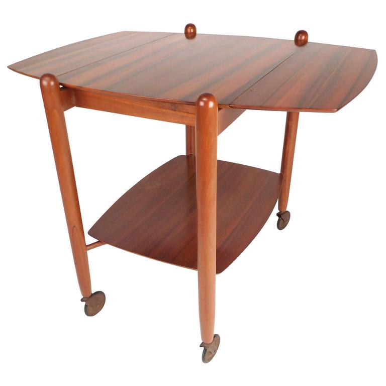 Mid Century Modern Drop Leaf Bar Cart By Vanson For