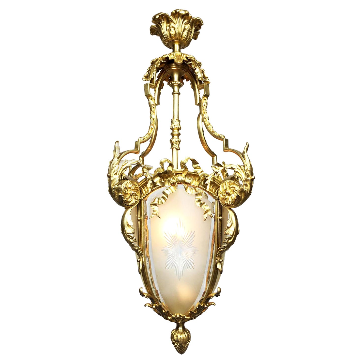 French, 19th-20th Century Louis XV Style Gilt Bronze and Glass Lantern