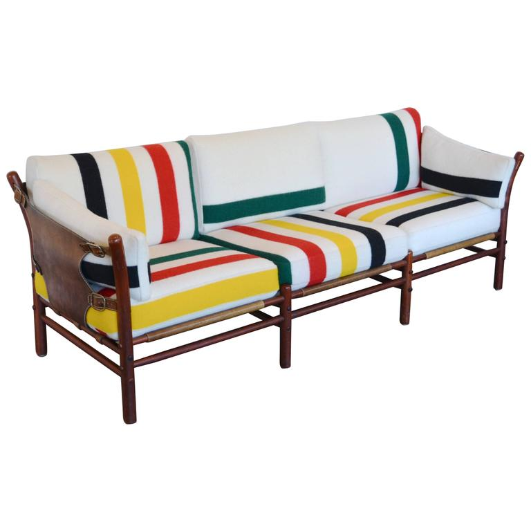 Attractive Scandinavian Modern Arne Norell Ilona Sofa With Pendleton Stripes: 1960u0027s  For Sale
