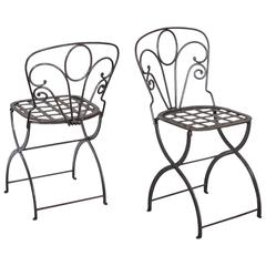 Pair Vintage French Folding Steel Garden Chairs, circa 1940