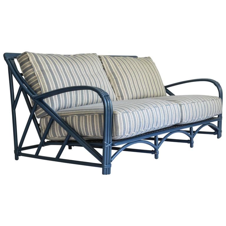 Blue Rattan Sofa With Performance Fabric Upholstery For