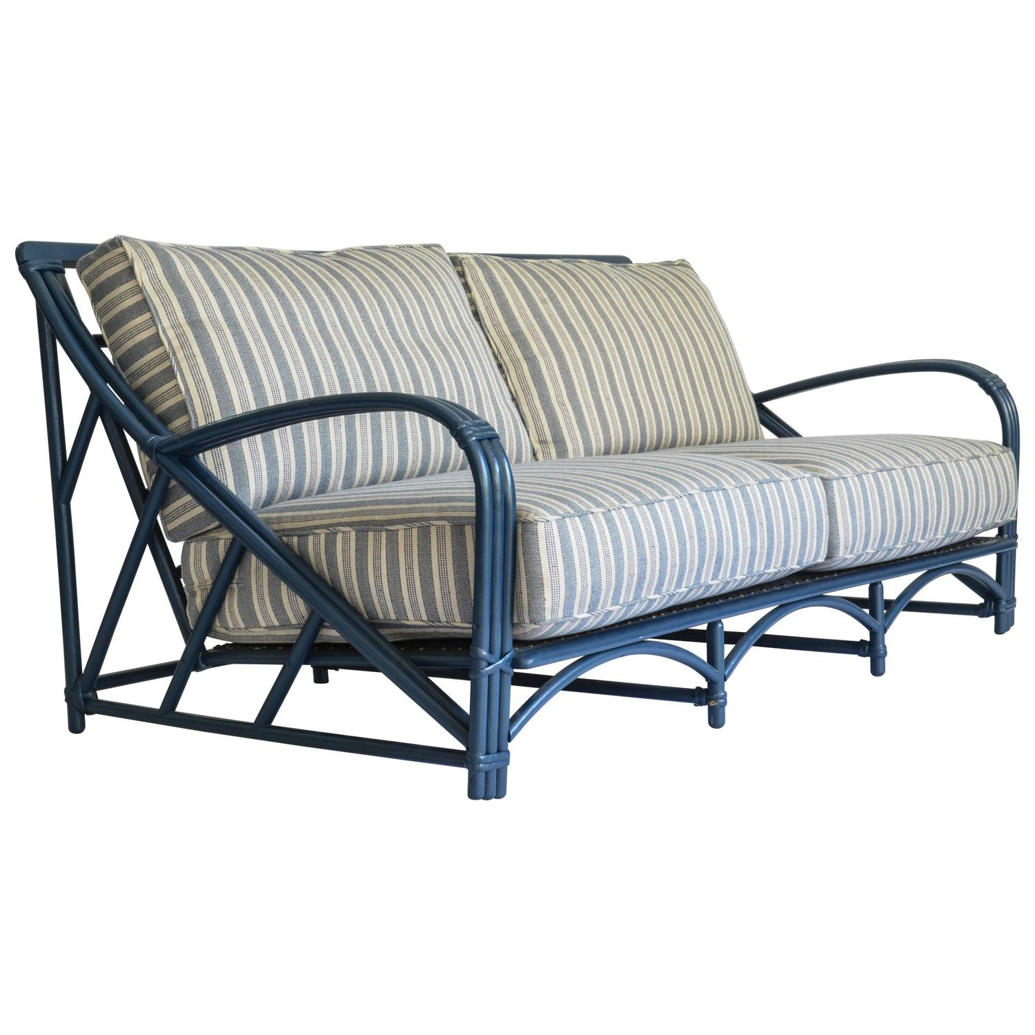 Blue Rattan Sofa With Performance Fabric Upholstery For Sale At 1stdibs