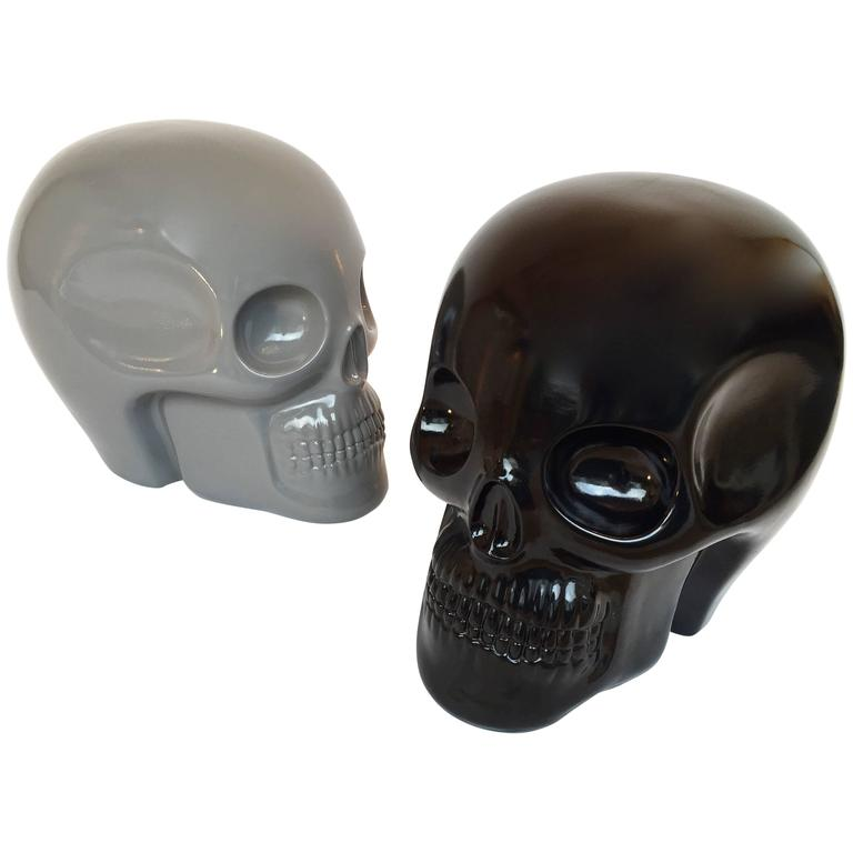 Stool Skull in Grey Ceramic by Antonio Cagianelli, Contemporary