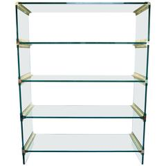 Mid-Century Modern Brass and Glass Display Etagere in the Style of Pace