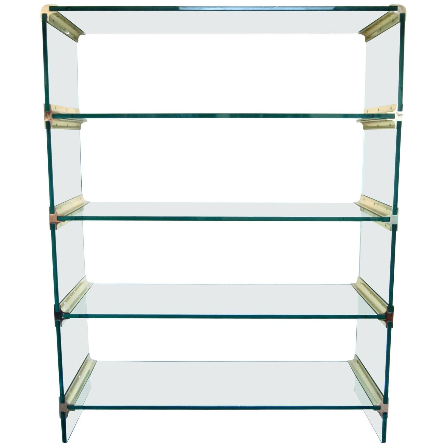 mid century modern brass and glass display etagere in the style of pace for sale at 1stdibs. Black Bedroom Furniture Sets. Home Design Ideas