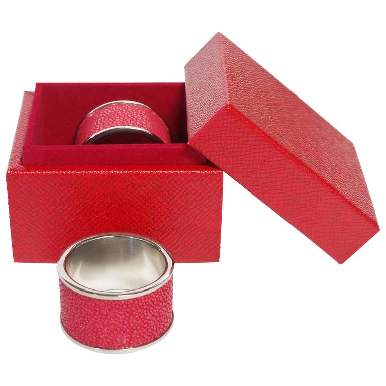 Set of Two Red Shagreen Napkin Rings