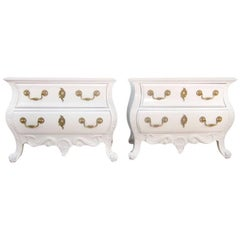 Pair of French Antique Style White Commodes