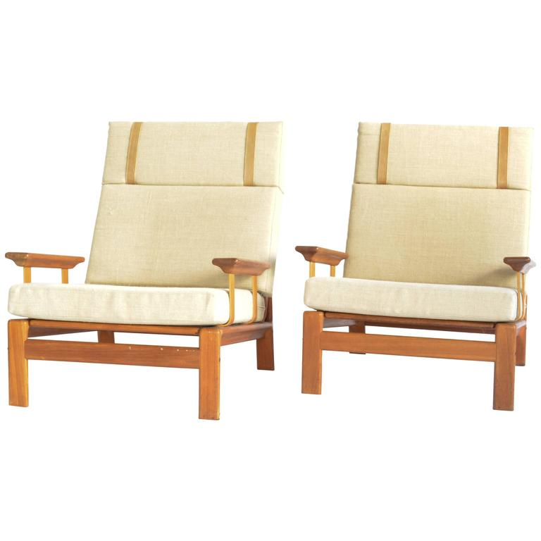 pair of 1970s danish teak armchairs for sale at 1stdibs