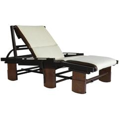 1970s Italian Rocking Chaise in Linen and Leather