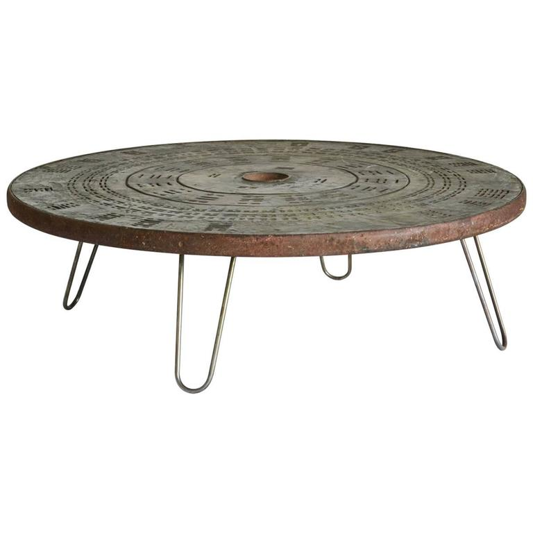 1960s Round Metal Coffee Table With Hairpin Legs For Sale At 1stdibs