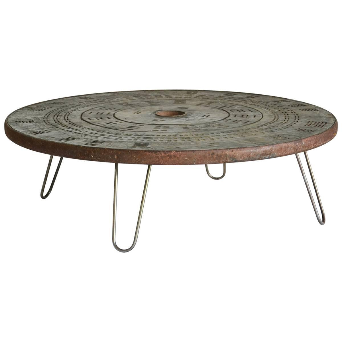 Round Wood Hairpin Coffee Table: 1960s Round Metal Coffee Table With Hairpin Legs For Sale