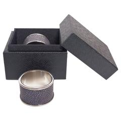 Set of Two Black Shagreen Napkin Rings