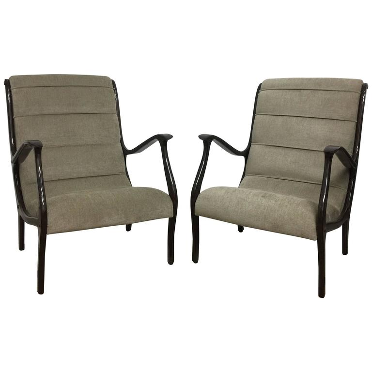 Ezio Longhi Pair of Espresso Stained Wood Frame Armchairs