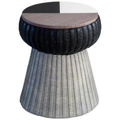 Wood Marquetry and Wicker Stool or Side Table