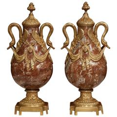 Pair of 19th Century French Red Marble and Bronze Cassolettes with Swan Handles
