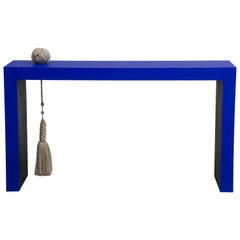 Wood Console Table with Linen Knot and Tassel
