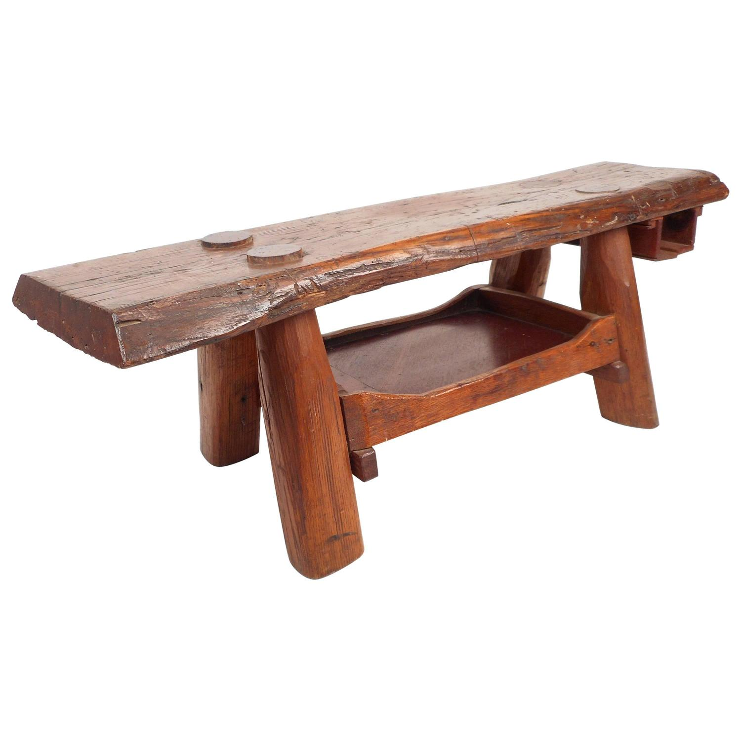 Mid Century Modern Tree Slab Coffee Table For Sale At 1stdibs: Mid-Century Modern Live Edge Cobbler Bench For Sale At 1stdibs