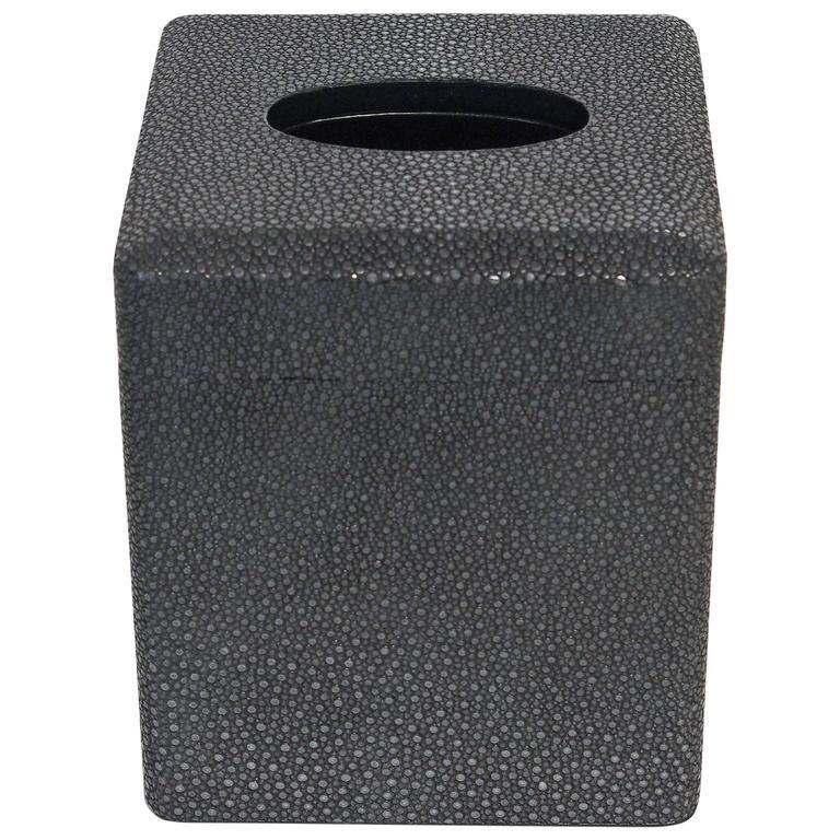 Italian Black Shagreen Tissue Box by Fabio Bergomi