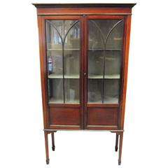 Mahogany 19th Century Inlaid Display Case Cabinet