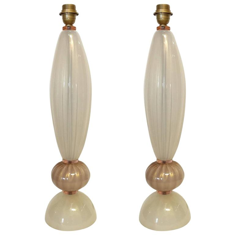 Pair of Italian Murano Glass Pink and Cream Table Lamps