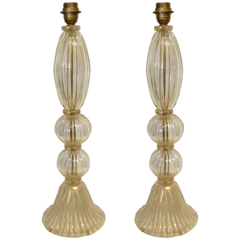 Pair of Italian Murano Glass Clear Gold Table Lamps