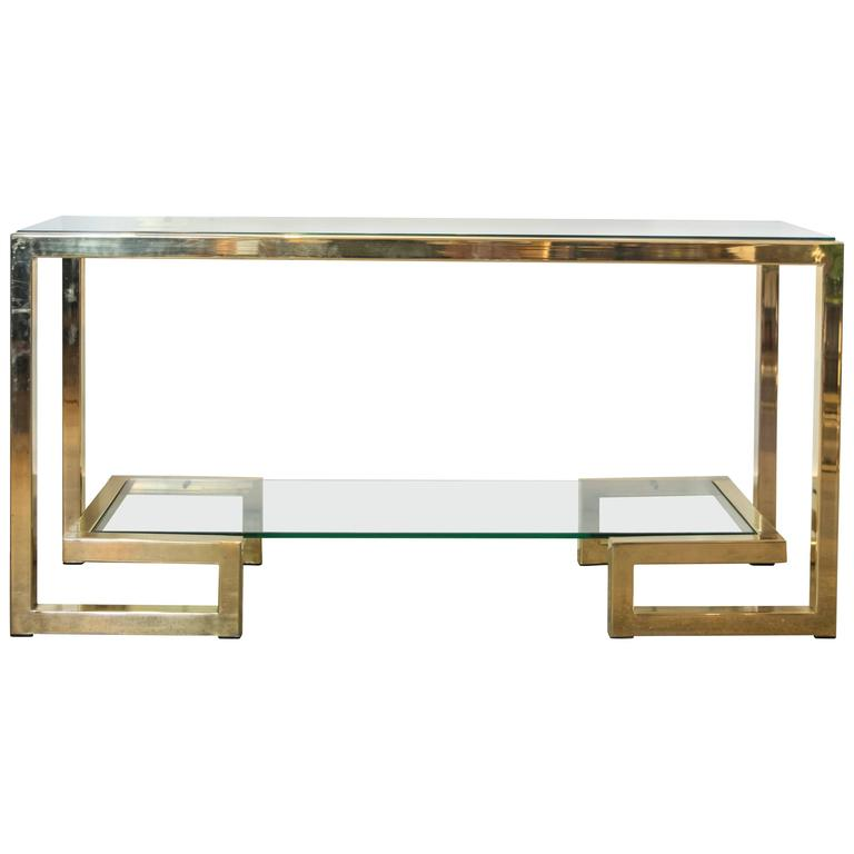 Brass and Glass Console Table In The Style of Romeo Rega For Sale at