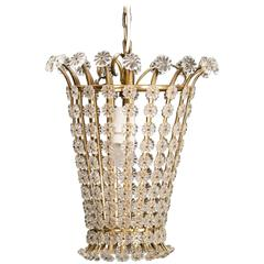1950s Swedish Brass Framed Lantern with Plexi Rosettes