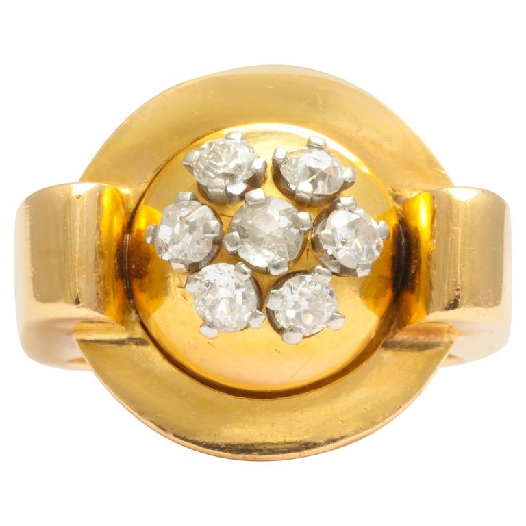 Retro Gold and Diamond Ring