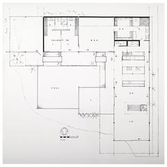 Pierre Koenig Floor Plan of Case Study House 22, Signed Photographic Print, 1958