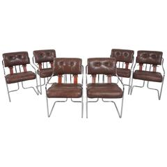 """Set of Six Guido Faleschini """"Tucroma"""" Chairs for Pace Collection"""