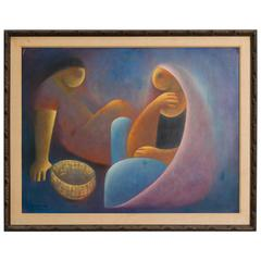 Cubist Oil Painting by Victor Manuel Cancino, Mexico