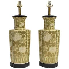 Pair of Asian Style Hand-Painted Ceramic Lamps