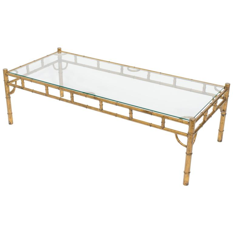Italian Gold Gilt Iron And Glass Faux Bamboo Metal Square: Large Gilt Metal Faux Bamboo Coffee Table At 1stdibs