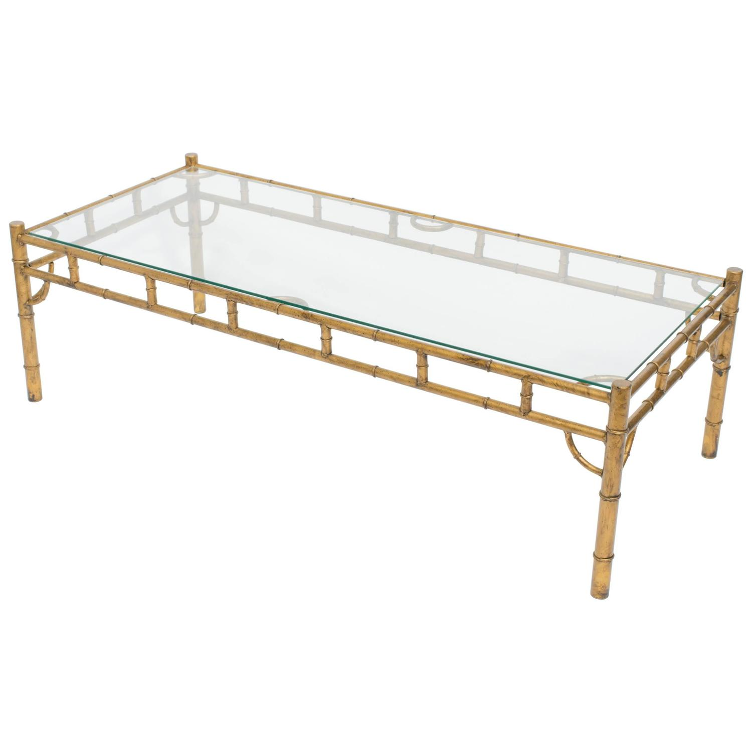 Brass Faux Bamboo Coffee Table: Large Gilt Metal Faux Bamboo Coffee Table For Sale At 1stdibs