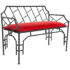 Iron Faux Bamboo Chinese Chippendale Bench