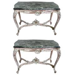 19th Century French Marble Top Tables, Pair