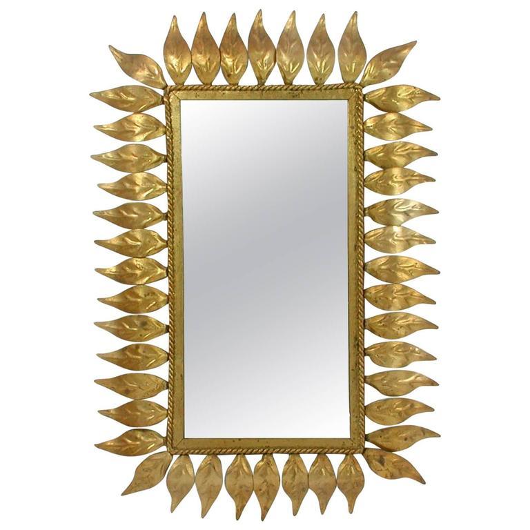 Mid-Century Spanish Sunburst Gilt Wall Mirror, 1950s