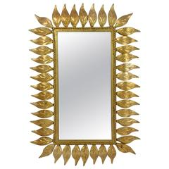 Mid-Century Spanish Sunburst Gilt Wall Mirror, 1950s