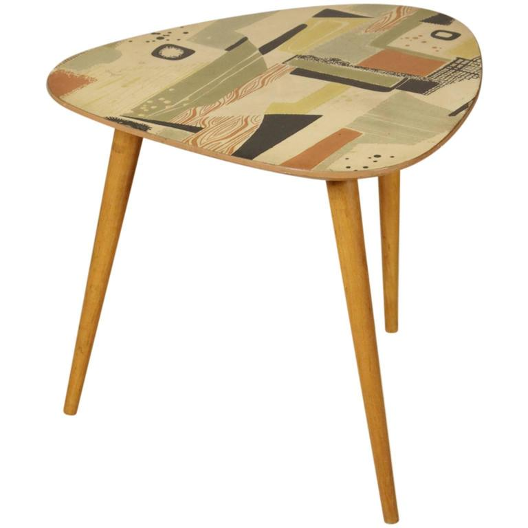 Coffee Table Beech Decorated Wooden Top 39 Verykote 39 Lacquering Vintage 1950s At 1stdibs