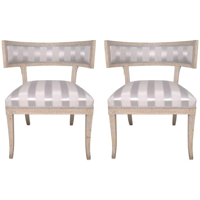 Pair of Swedish Late Gustavian Klismos Chairs in Original Paint Signed PT