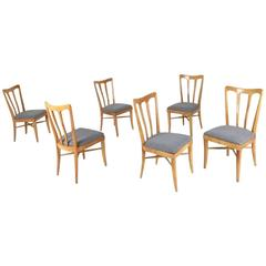Set of Six Cherry and Gray Fabric Dining Chairs Attributed to Ulrich, Italy