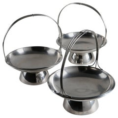Set of Three Steel Baskets by Gio Ponti for Arthur Krupp, Milano