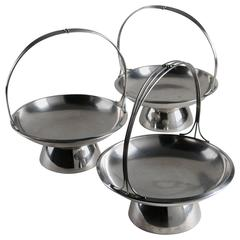 Set of Three Steel Baskets by Gio Ponti for Arthur Krupp, Milano