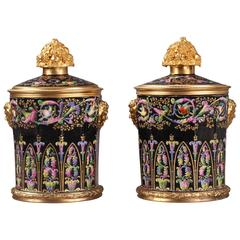 Pair of Pot-Pourri Vases in Porcelain and Gilt Bronze, Restauration Period