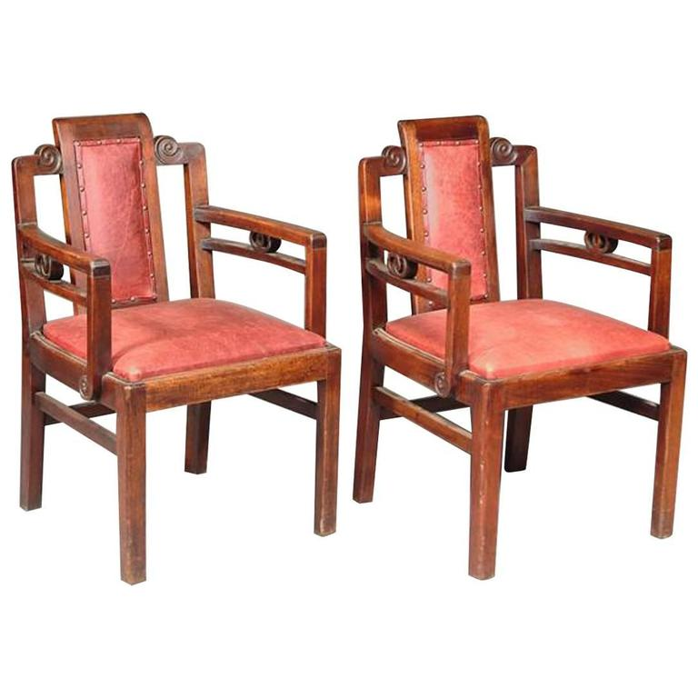 Pair of Arts and Crafts Mahogany Armchairs, Attributed to Sir Frank Brangwyn