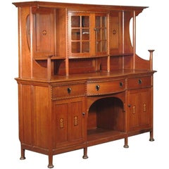 Waring & Gillows Style of M.H. Baillie Scott. Arts & Crafts Oak Inlaid Sideboard