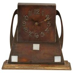Glasgow School Patinated Brass Clock with Mother-Of-Pearl Inlaid Square Details