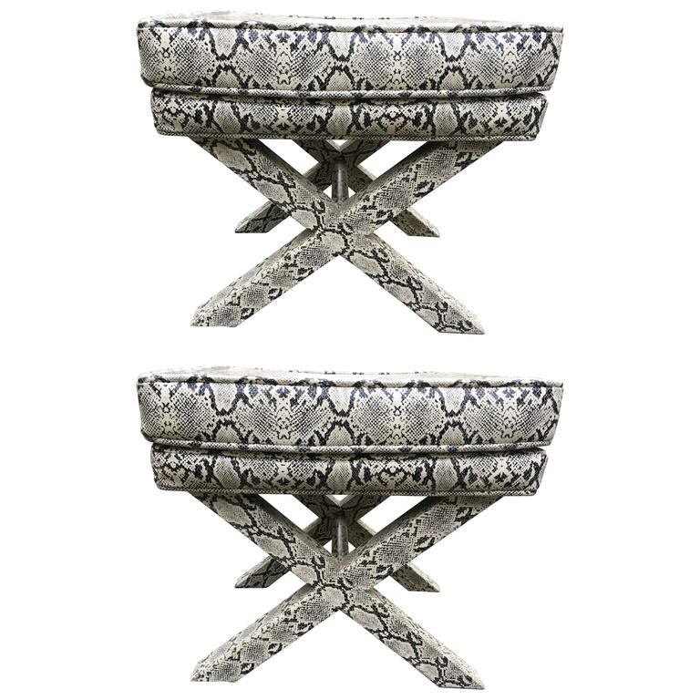 Chic Pair of Hollywood Regency Snakeskin X-Benches